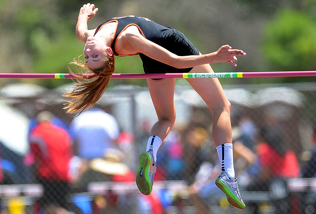 ". South Pasadena\'s Claire Kieffer-Wright wins the high jump with a jump at 5\'11"" during the CIF-SS track & Field championship finals in Hilmer Stadium on the campus of Mt. San Antonio College on Saturday, May 18, 2013 in Walnut, Calif.  (Keith Birmingham Pasadena Star-News)"