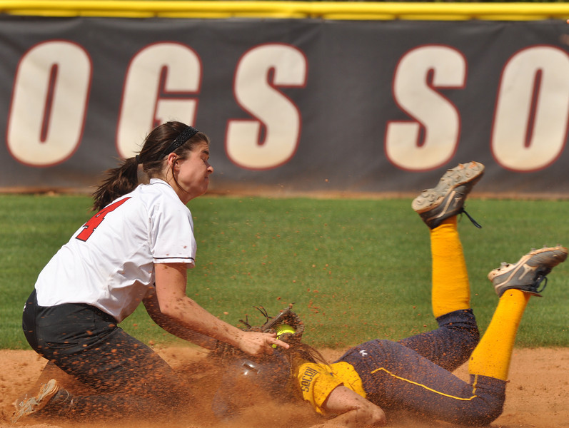 Savannah Burns tags out UNC Greensboro on March 22, 2012.