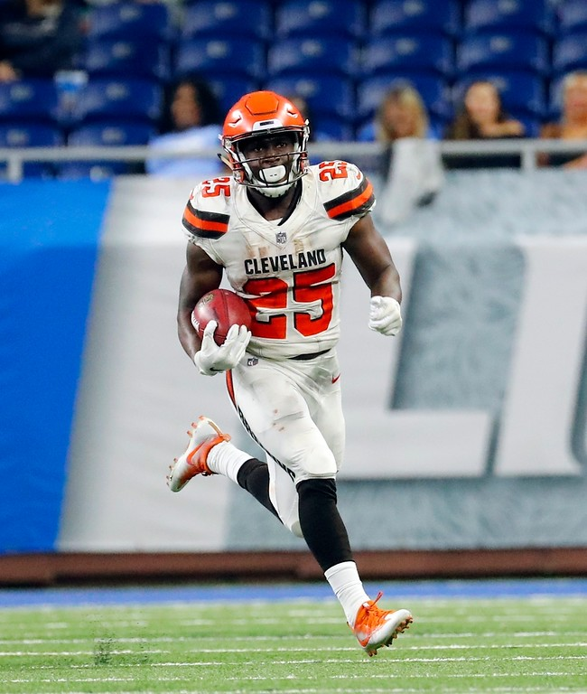 . Cleveland Browns running back Dontrell Hilliard (25) breaks downfield for 45-yards during the second half of an NFL football preseason game against the Detroit Lions, Thursday, Aug. 30, 2018, in Detroit. (AP Photo/Rick Osentoski)
