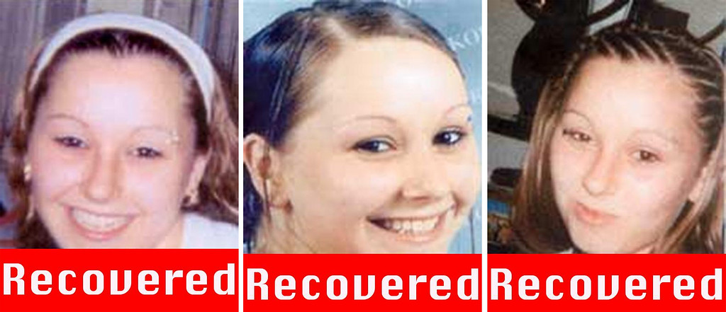 """. These three photographs obtained on May 6, 2013 courtesy of the FBI show Amanda Berry, who went missing on April 21, 2003, after leaving the fast food restaurant at which she was employed a decade ago, and was found alive May 6, 2013 in a residential area of Cleveland, Ohio. Three women who had been missing for years -- two of whom disappeared as teenagers -- were found alive in a house in Cleveland, police in the US state of Ohio said Monday. \""""All three women, Amanda Berry, Gina DeJesus and Michele Knight, seem to be in good health,\"""" Cleveland police said in a statement. (Picture are right is a \""""photograph progressed to 17 years) AFP PHOTO /  FBI"""