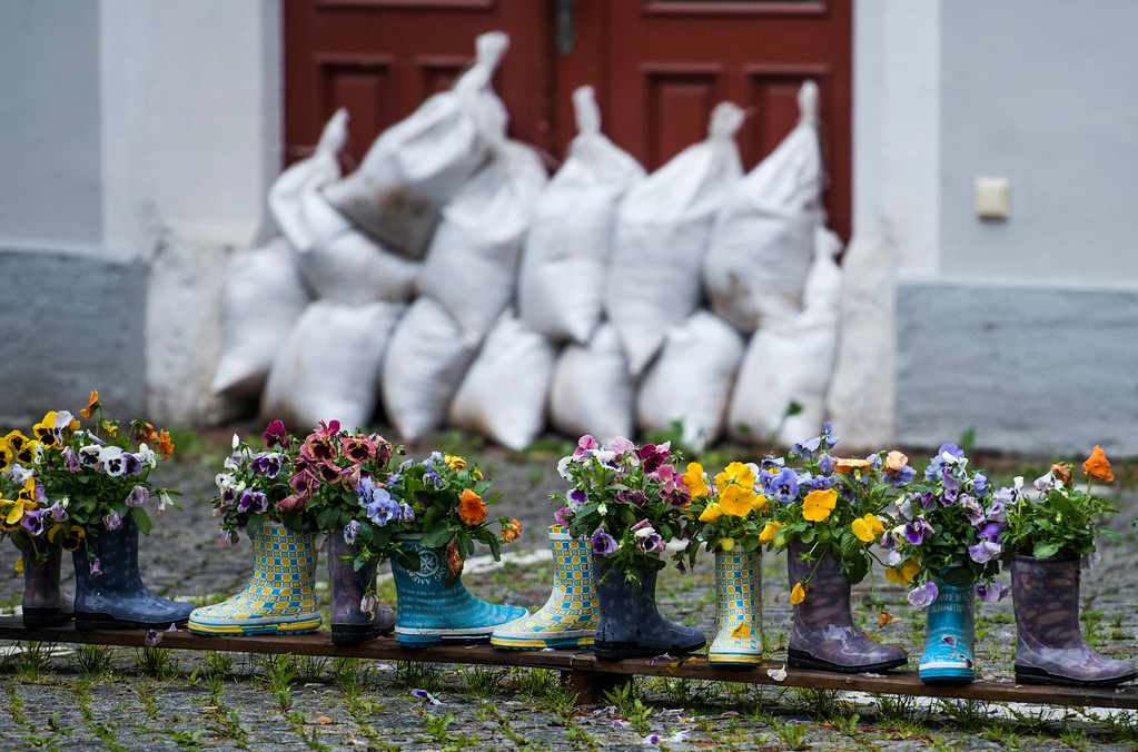 . Rubber boots filled with flowers stand in front of the entrance of a house protected with sand bags against the floods of the river Elbe on June 4, 2013 in Meissen, eastern Germany. Torrential rain and heavy flooding hit central Europe. MARTIN FOERSTER/AFP/Getty Images