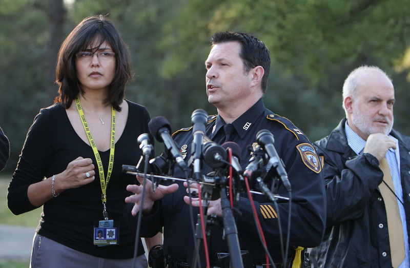 . Harris County Capt. Ken Melancon address the media at Lone Star College-North Harris Campus following a shooting on campus on Tuesday, Jan. 22, 2013. (AP Photo/The Courier, Jason Fochtman)