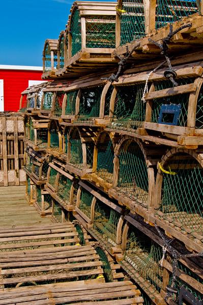 A veritable wall of lobster pots