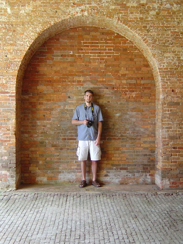Miles in the arches.  Kate says this looks like a senior picture pose.