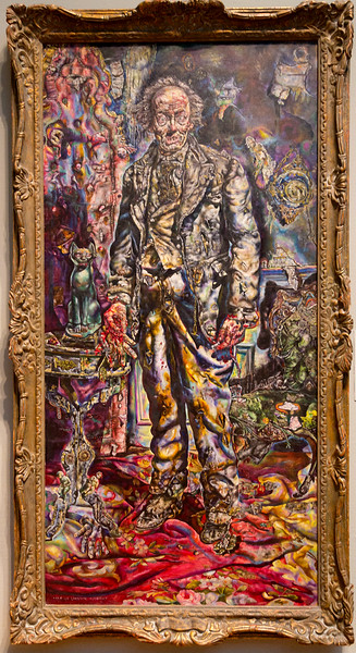 "Ivan Albright painted this horrific ""Picture of Dorian Gray"" for the 1945 black and white movie of the same name.  The movie was Black and White except for Albright's 3-picture sequence of Gray's moral decay."