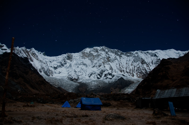 The view from base camp at midnight, Annapurna, Nepal