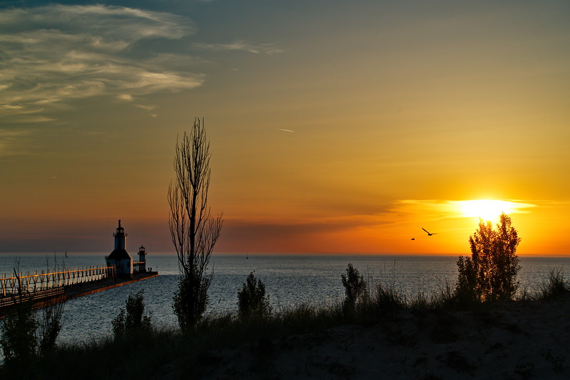 Landscape, Michigan, St Joseph, St. Joseph North Pier Lights Lighthouse
