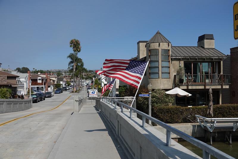 The bridge overlooking the canal on Balboa Island.