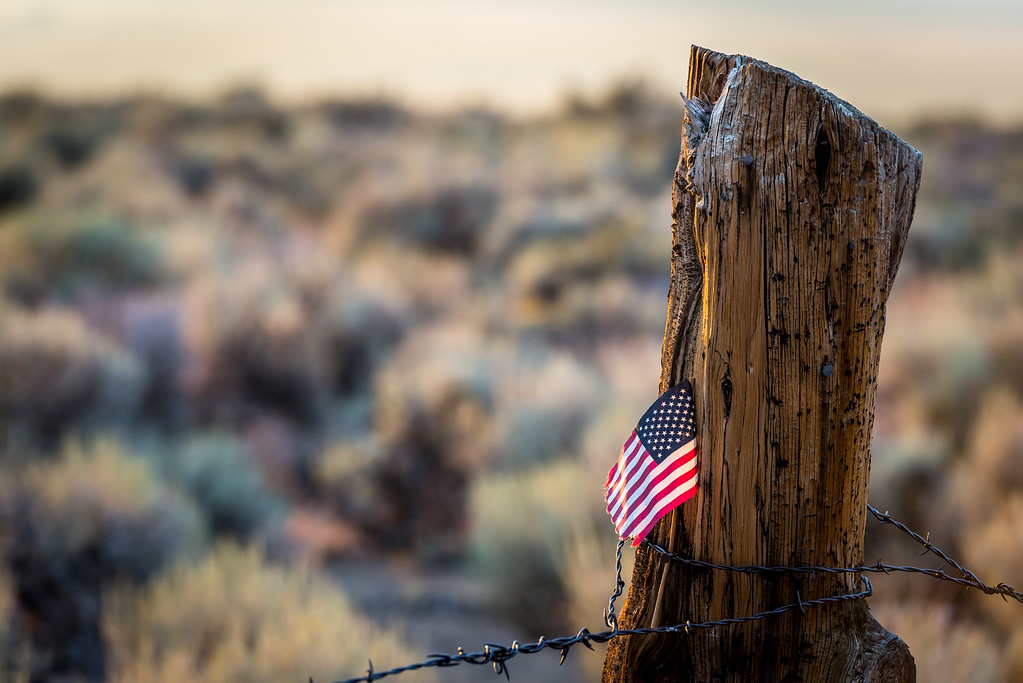 Star Spangled fence post, Summer Meadows Rd-1