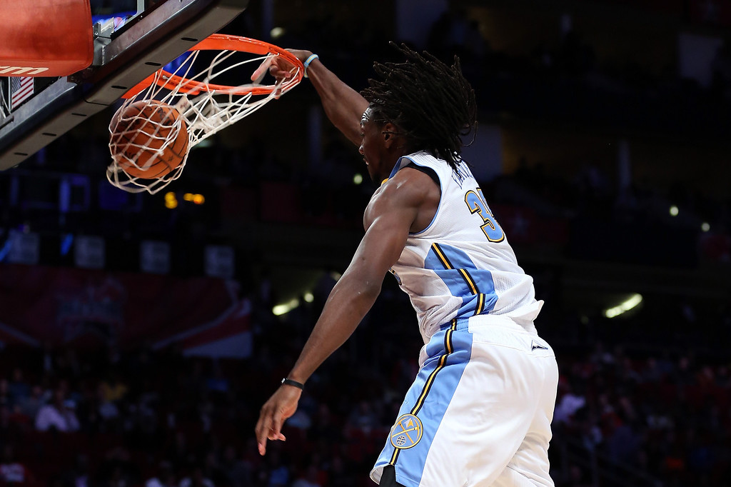 . HOUSTON, TX - FEBRUARY 15:  Kenneth Faried #35 of the Denver Nuggets and Team Chuck dunks the ball in the second half in the BBVA Rising Stars Challenge 2013 part of the 2013 NBA All-Star Weekend at the Toyota Center on February 15, 2013 in Houston, Texas.  (Photo by Ronald Martinez/Getty Images)