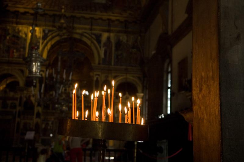 Candles in San Giorgio dei Greci church, Venice Italy
