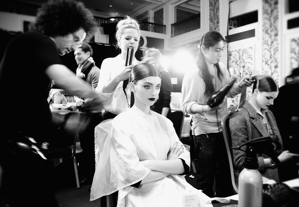 Description of . Models backstage before the Tsumori Chisato Fall/Winter 2013 Ready-to-Wear show as part of Paris Fashion Week on March 2, 2013 in Paris, France.  (Photo by Gareth Cattermole/Getty Images)