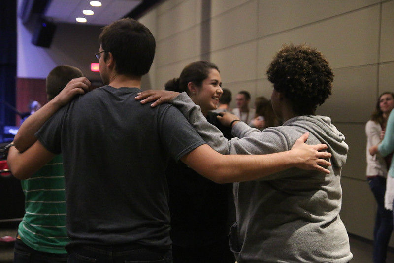 "At the start of the CMU Fall Retreat on Friday night, September 25th, students played the game ""Mingle"" in order to meet and connect with new people."