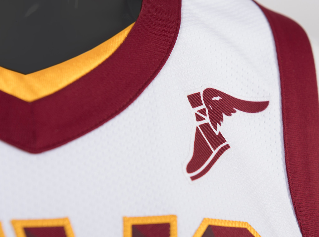 . Nike\'s famous Swoosh logo (right chest) and Goodyear�s iconic Wingfoot logo (left chest) will both appear on the Cavs player jerseys. (Courtesy Cleveland Cavaliers)