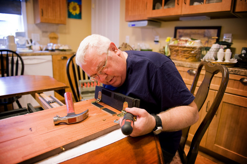 Dad and I immediately get to work repairing some bent hinges on the kitchen table.  This was the photo of the day for this day.