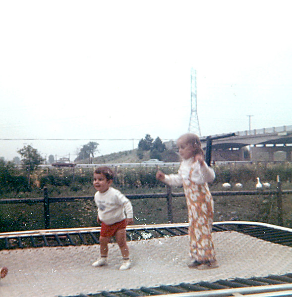 Chuckie and Loretta on trampoline.JPG