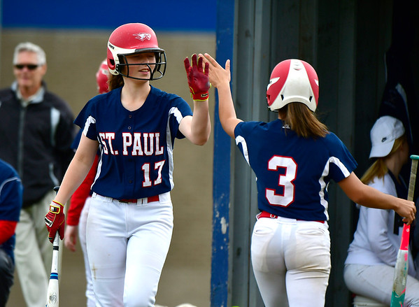 5/29/2019 Mike Orazzi | Staff St. Paul's Gillian Smith (17) and McKenzie Gauthier (3) during Wednesday's Class S First Round softball game in Bristol.