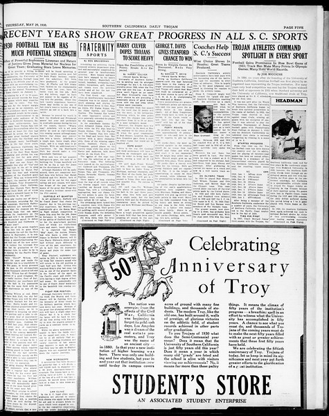 Southern California Daily Trojan, Vol. 21, No. 149, May 29, 1930