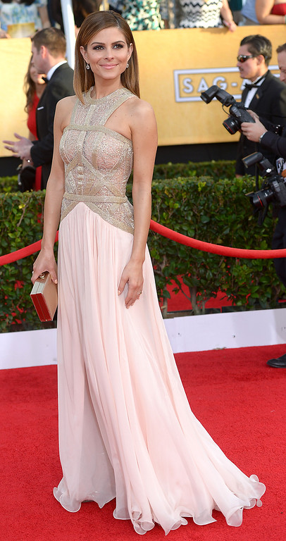 . Maria Menounos arrives at the 20th Annual Screen Actors Guild Awards  at the Shrine Auditorium in Los Angeles, California on Saturday January 18, 2014 (Photo by Michael Owen Baker / Los Angeles Daily News)