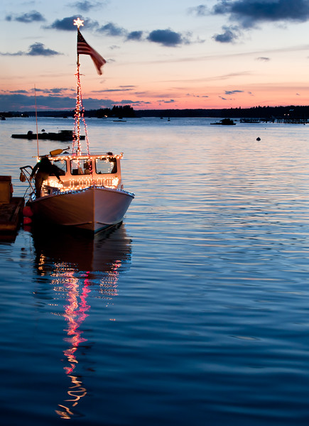 Lobster Boat Preparing for the Festival of Lights Boat Parade, Boothbay Harbor, Maine (7851)