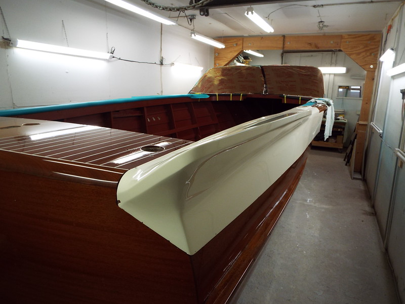 Rear view of he starboard fin being installed.