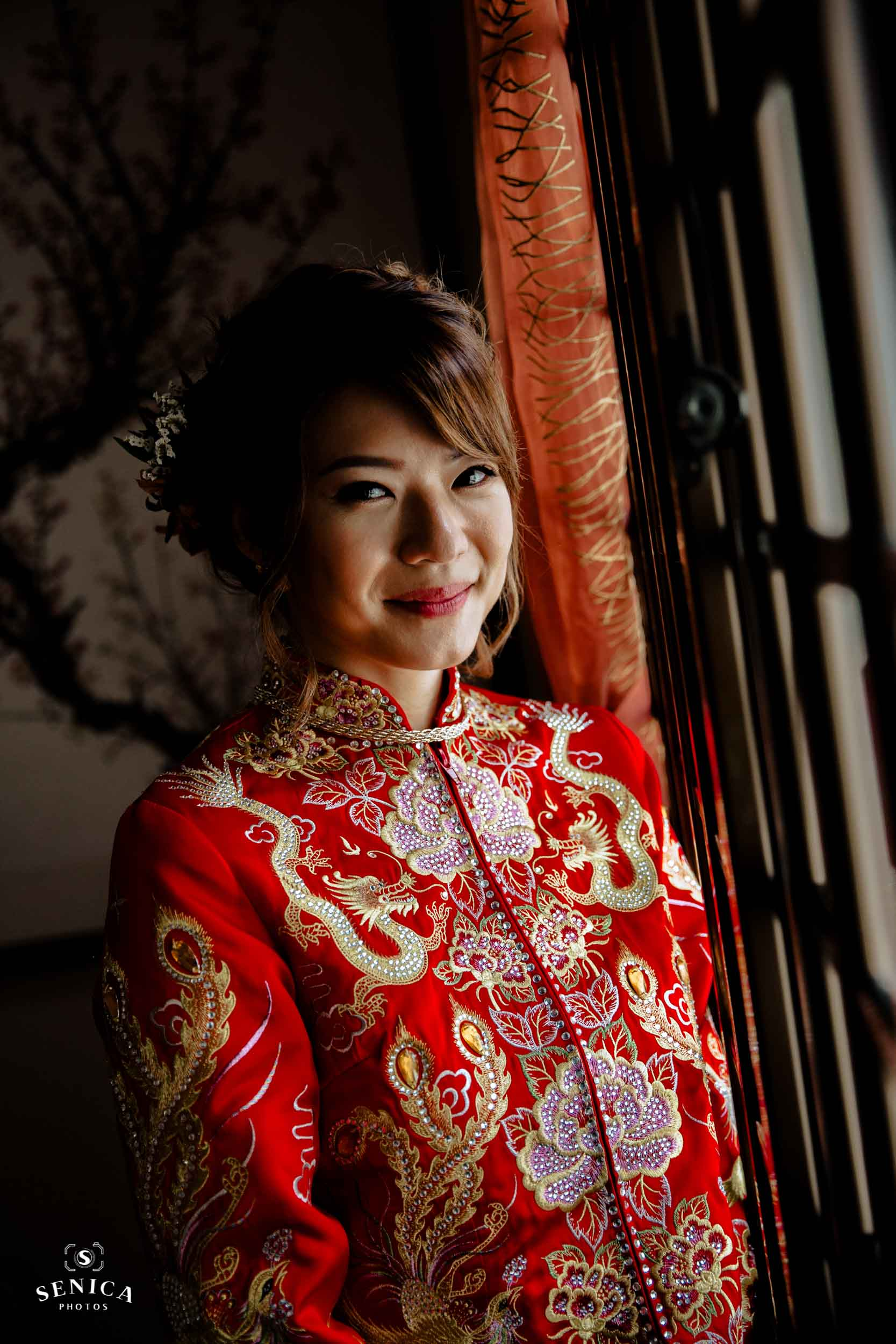 Bride's Kua embroidered with dragon and phoenix, and peony flower