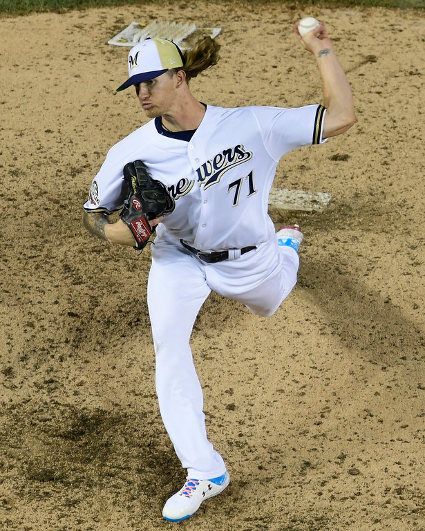 . Milwaukee Brewers pitcher Josh Hader (71) throws during the eighth inning at the Major League Baseball All-star Game, Tuesday, July 17, 2018 in Washington. (AP Photo/Susan Walsh)