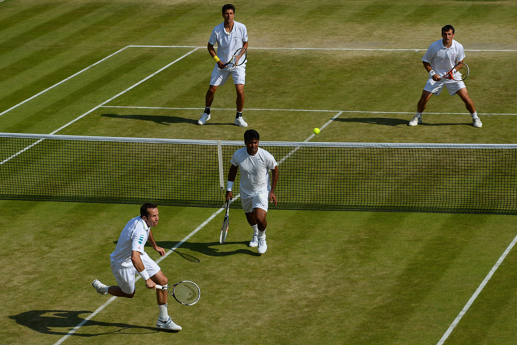 . LONDON, ENGLAND - JULY 04:  A view of the action during the Gentlemen�s Doubles semi final match between Radek Stepanek of Czech Republic and Leander Paes of India and  of Brazil on day ten of the Wimbledon Lawn Tennis Championships at the All England Lawn Tennis and Croquet Club on July 4, 2013 in London, England.  (Photo by Mike Hewitt/Getty Images)