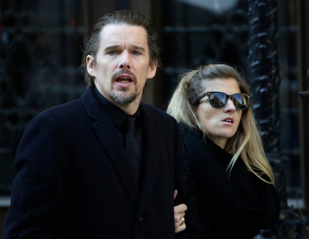. Ethan Hawke arrives for the funeral of actor Philip Seymour Hoffman at the Church of St. Ignatius Loyola, Friday, Feb. 7, 2014 in New York. Hoffman, 46, was found dead Sunday of an apparent heroin overdose. (AP Photo/Mark Lennihan)