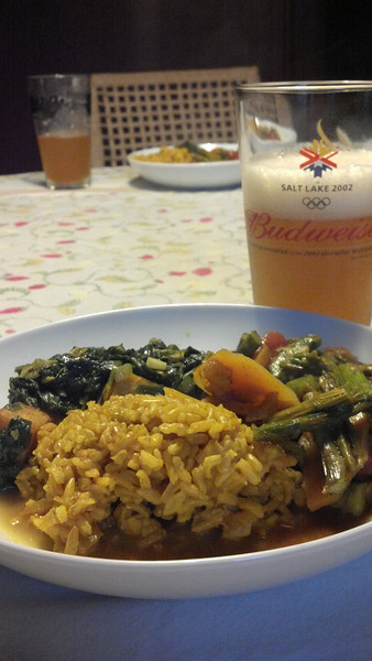 Curry dinner with Bell's Oberon. Did I really drink Bud when we were in Salt Lake for the Olympics?