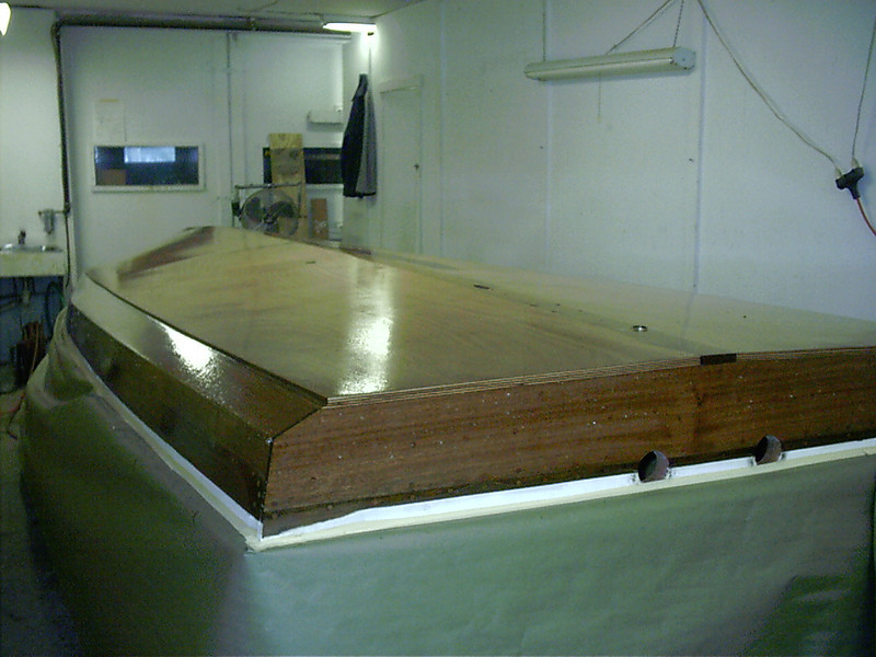 Rear starboard view of epoxied bottom.