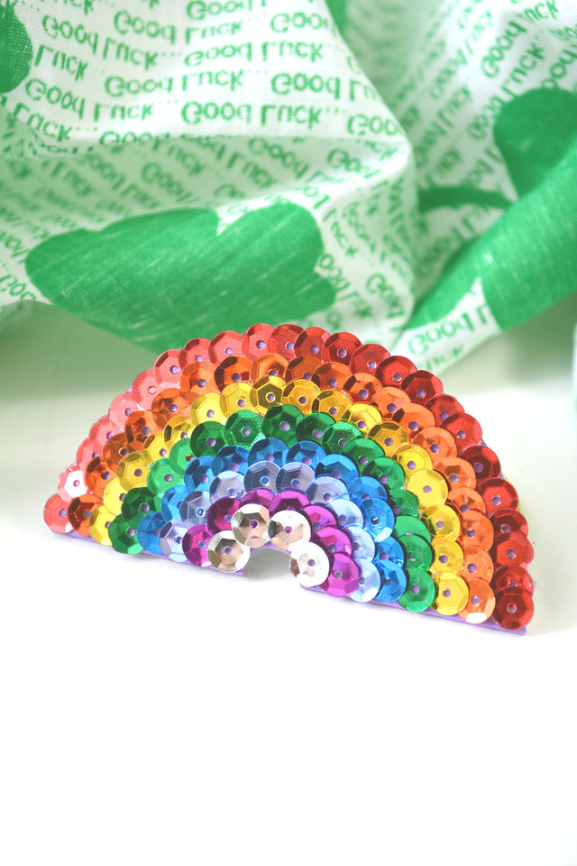 These Sequin Rainbow Hair Barrettes are the CUTEST! And they're easy to make too. Surprise someone in your life for St. Patrick's Day or make one together.