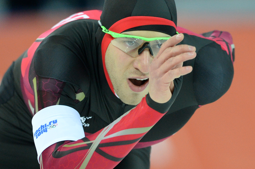 . Germany\'s Alexej Baumgaertner competes in the Men\'s Speed Skating 5000m at the Adler Arena during the 2014 Sochi Winter Olympics on February 8, 2014.  (ANDREJ ISAKOVIC/AFP/Getty Images)
