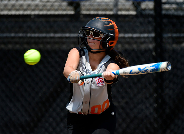 7/27/2018 Mike Orazzi   Staff Ella McNeff (00) during Friday's championship game with Rhode Island during the Eastern Regional Little League final at Breen Field in Bristol.