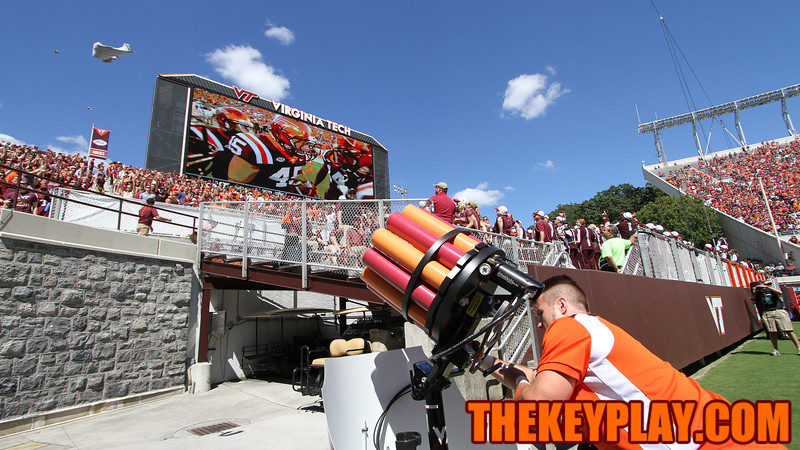 The Virginia Tech Spirit Squad brought out the T-shirt gatling gun for the student section after the touchdown. (Mark Umansky/TheKeyPlay.com)