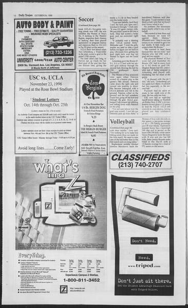 Daily Trojan, Vol. 129, No. 40, October 24, 1996