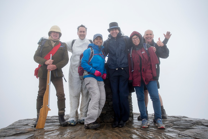 Finally, we managed to link up with guests who caught earlier trains or made their own way up. It was time for photos on the summit of Mt Snowdon, at 1,085 m the highest peak in Wales!