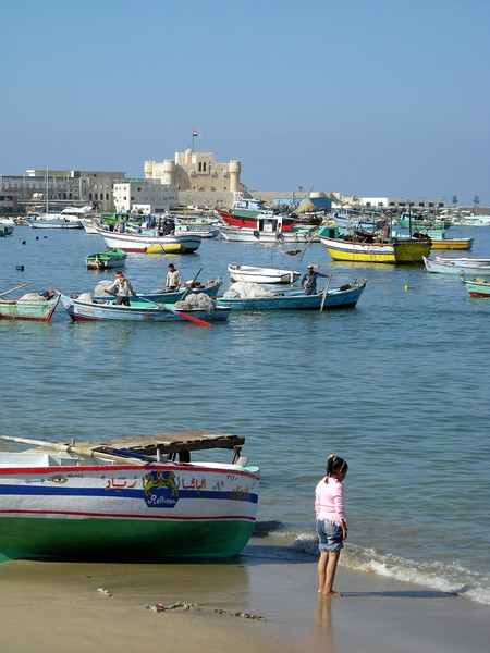 Alexandria harbor boats and Fort Qaitbey