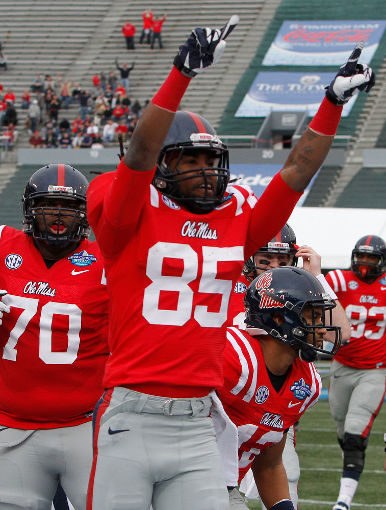 . Mississippi wide receiver Ja-Mes Logan (85) reacts after scoring in the first half against Pittsburgh in the BBVA Compass Bowl NCAA college football game at Legion Field in Birmingham, Saturday, Jan. 5, 2013. (AP Photo/Butch Dill)