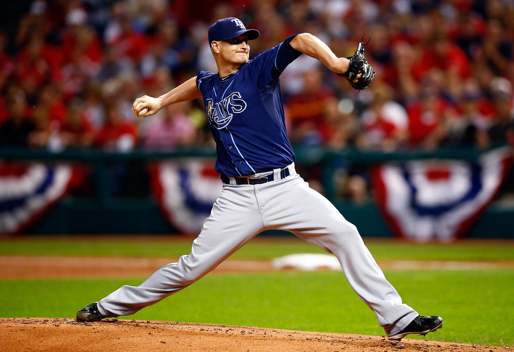 . CLEVELAND, OH - OCTOBER 02:  Alex Cobb #53 of the Tampa Bay Rays throws a pitch in the first inning against the Cleveland Indians during the American League Wild Card game at Progressive Field on October 2, 2013 in Cleveland, Ohio.  (Photo by Jared Wickerham/Getty Images)