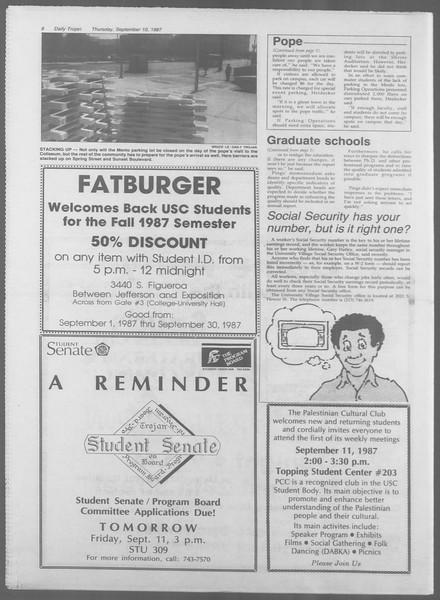 Daily Trojan, Vol. 105, No. 6, September 10, 1987