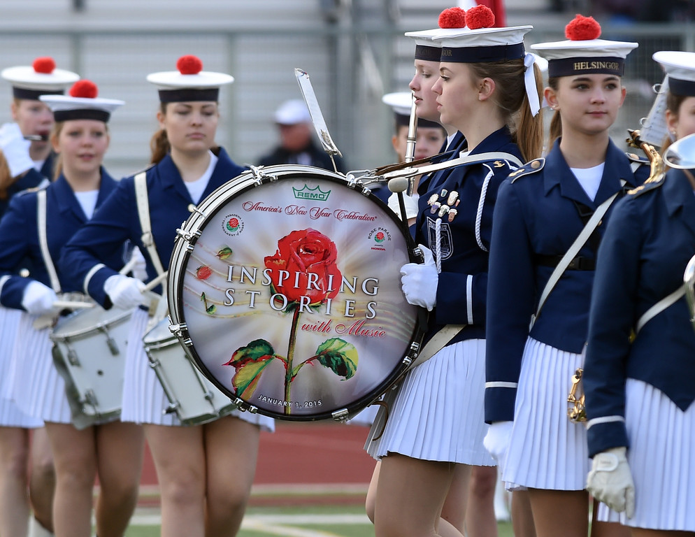 . Helsingor Pigegarde Elsinore Girls Marching Band from Denmark performs during Bandfest presented by REMO at Pasadena City College on Tuesday December 30, 2014. Bandfest features the bands selected to participate in the 2015 Rose Parade. Over the course of two days, each band, along with its auxiliary performers, will present the field show that has led to its success. (Photo by Walt Mancini/Pasadena Star-News)