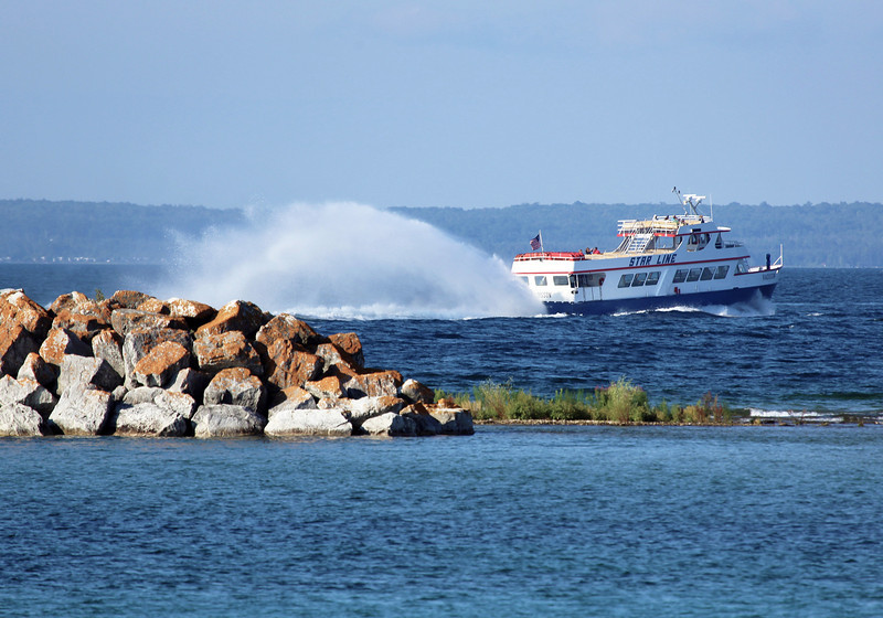 Off to Mackinac Island.  The middle jet of this water-jet-driven ferry is more for display than propulsion.