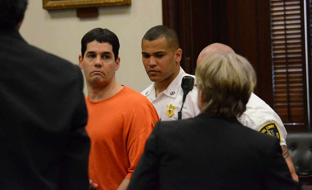 . David Chalue is let into Berkshire Superior Court, Wed May 22, 2013 (GARVER)