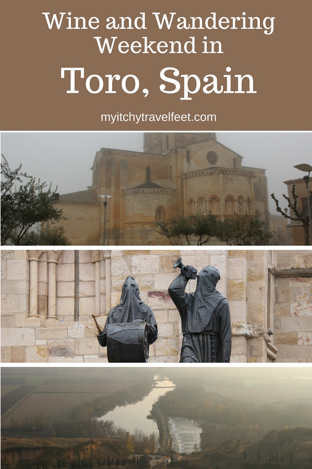 Wine and Wandering Weekend in Toro, Spain. Photo collage: medieval building, Santa Semanta black statues, Douro River.