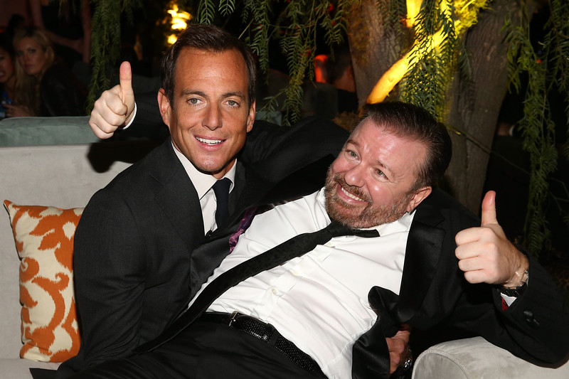. Will Arnett (L) and Ricky Gervais attend The Weinstein Company & Netflix\'s 2015 Golden Globes After Party presented by FIJI Water, Lexus, Laura Mercier and Marie Claire at The Beverly Hilton Hotel on January 11, 2015 in Beverly Hills, California.  (Photo by Rich Polk/Getty Images for FIJI Water)