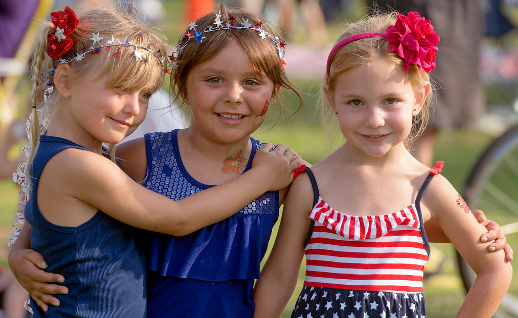 . Kennadi Spurgeon, from left, Julia Raucho and Hailey Ervolina, all five years old, wear patriotic headbands for La Mirada\'s annual Independence Day Celebration at La Mirada Regional Park July 3, 2013.   (SGVN/Staff photo by Leo Jarzomb)