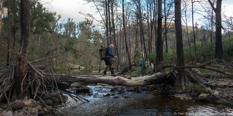 Peter crossing Bundundah Creek at the bottom of Atkins Spur