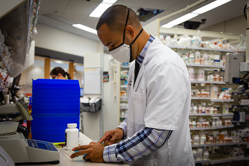 Danny Bautista, Pharmacy Manager at the Walgreens in Delray Beach at the corner of Linton Blvd. and  Jog Road, Monday, June 1, 2020. [JOSEPH FORZANO/palmbeachpost.com]