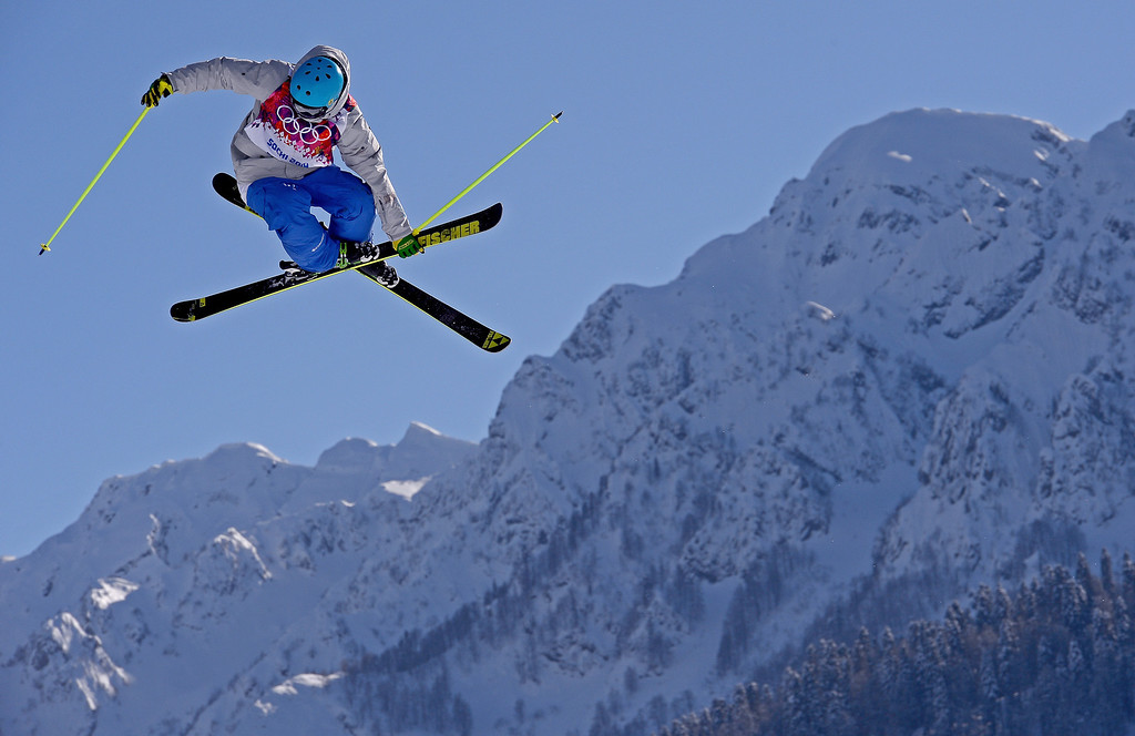 . Pavel Korpachev of Russia practices during training for Ski Slopestyle at the Extreme Park at Rosa Khutor Mountain on February 4, 2014 in Sochi, Russia.  (Photo by Lars Baron/Getty Images)